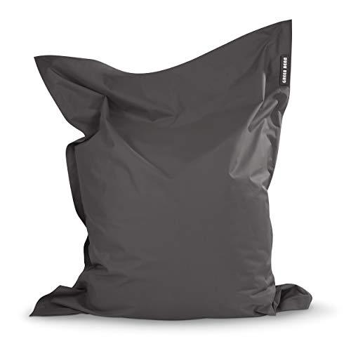 Green Bean © Square XL Riesensitzsack 120x160 cm - 270L - Indoor Outdoor - waschbar, doppelt vernäht - Sitzsack für Kinder und Erwachsene - Bodenkissen, Gaming Beanbag Chair, Sessel - Anthrazit