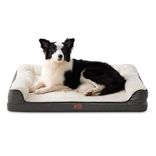 Bedsure orthopädische Hundebett große Hunde - Hundesofa mit Memory Foam, kuschelig Schlafplatz in Größe 91x68 cm, waschbare Hundesofa, grau