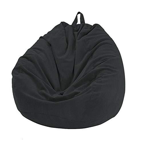YMZ Sitzsack-Bezug für Sofa ohne Füllstoff, weich, abnehmbar, aus Cord, für Erwachsene und Kinder, Schwarz