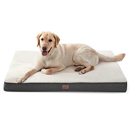 Bedsure Hundekissen flauschig Grosse Hunde - orthopädisches Hundebett eierförmige Hundematte kuschelige Hundematratze für große und mittelgroße Hunde in 110x80 cm, 8 cm Höhe