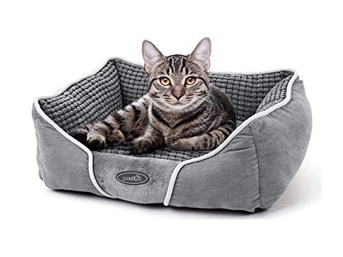 Pecute Hundebett Haustierbett für Katzen und Hunde Rechteck Ultra Weicher Plüsch luxuriöse Haustier-Schlafsack Maschine waschbar S (53 * 43 cm)