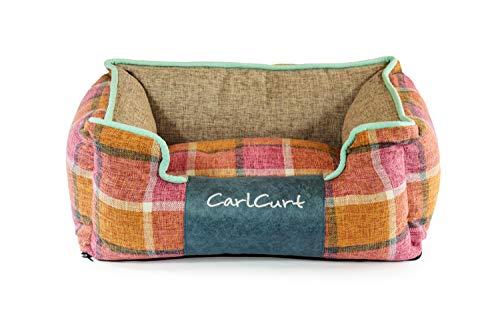 CarlCurt - Fashion Line: Kuschelweiches Hundebett Mit Angenehmen Weichen Kissen Und Strapazierfähigen Außenteil Aus Leinengwebe, XS 48 x 42 x 20cm, Orange-Rot