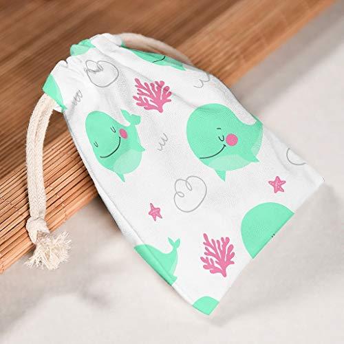 RQPPY Segeltuch-Taschen mit Kordelzug, Meeresfisch-Motiv, für Reisen und Partys, 6 Stück, weiß, 20*25cm