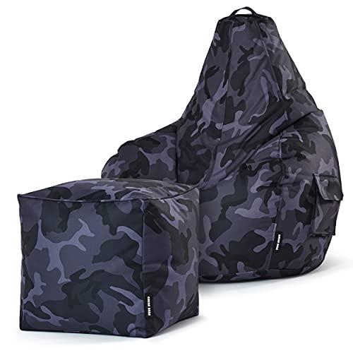 Green Bean Gaming © 2er Sitszack Set - Cozy Sitzsack mit 2 Seitentaschen + Cube Hocker - robust, waschbar, schmutzabweisend, wasserfest - für Kinder und Erwachsene - Camouflage Schwarz