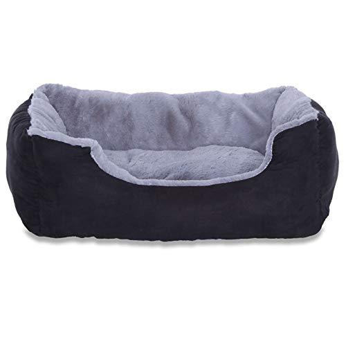 Hundebett, Hundekissen, Hundekörbchen mit Wendekissen, Größe S, Farbe grau/schwarz