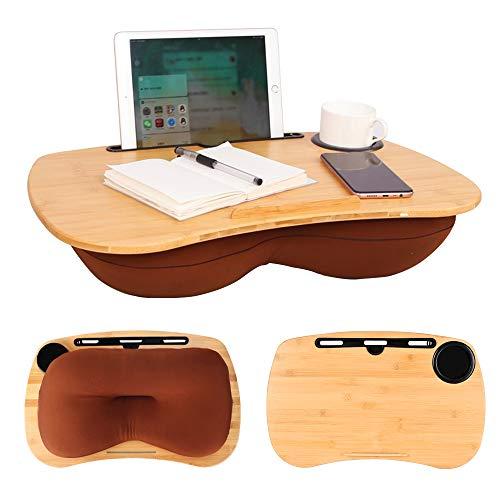 CSYY Laptop kissentablett, Laptop unterlage Knietablett für Bett Mit Kabelloch,Mediensteckplatz und Getränkehalter, laptopkissen für max. 17 Zoll Notebook