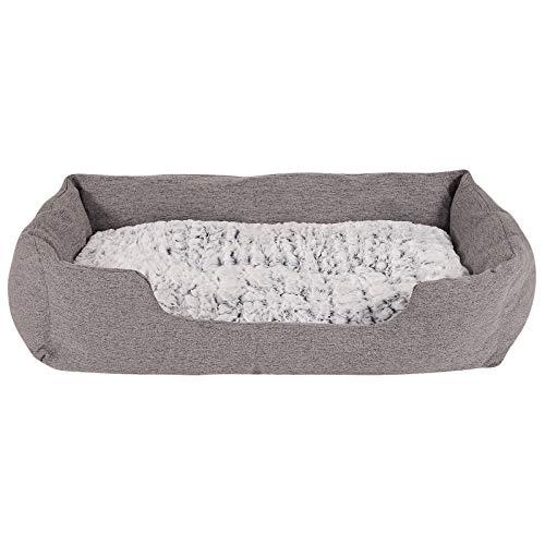 dibea Hundebett Hundekissen Hundekörbchen mit Wendekissen meliert Größe L 110x80 cm Farbe grau