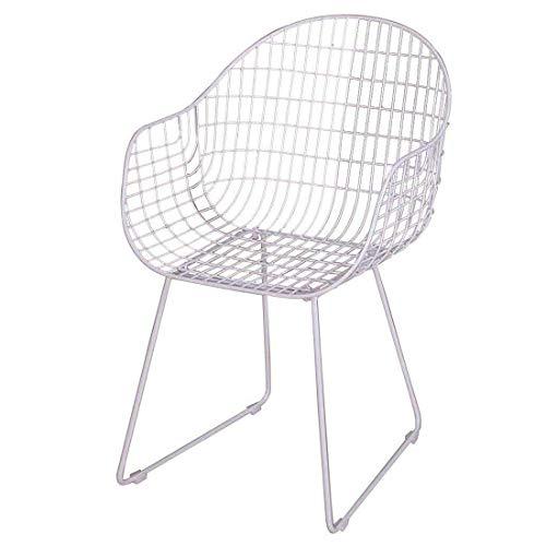 Stuhl Nordic Perforierte Wire Mesh kreative Schmiedeeisen Rückenlehne Einfach Lässige Bankett Essen Hotel Dining Dressing Y1209 (Color : White)