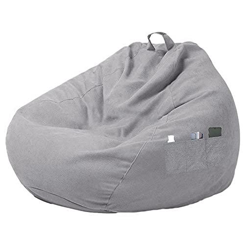Gamer Kissen Lounge Kissen Sitzsack Sessel Sitzkissen In & Outdoor geeignet, mit DREI Seitentaschen, zum Organisieren von Plüschtieren oder Memory Foam Füllstoff für Kinder(ohne Füllstoff). (grau)