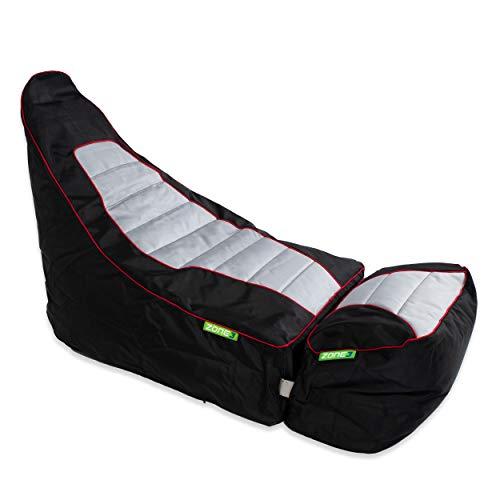 Green Bean © Zone3 Set - Gaming Sitzsack mit Add-On Hocker - 120x55x75 cm - 150L Füllung - wasserabweisend, schmutzabweisend, waschbar - Gamingstuhl - Sitzkissen für Kinder & Erwachsene - Race