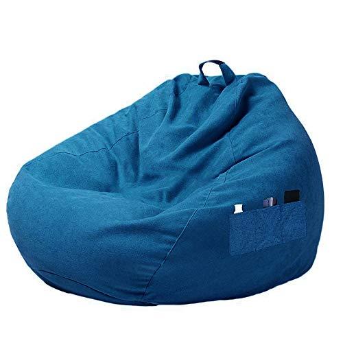 Hands DIY Abdeckung für Sitzsack mit Griff und seitlichen Taschen, Bezug für Sitzsack mit Reißverschluss für Sitzsack, Füllsack, Lazy Bag (blau, 80 x 90 cm)