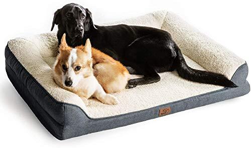 Bedsure orthopädische Hundebett große Hunde - Hundesofa mit Memory Foam, kuschelig Schlafplatz in Größe 106x81 cm, waschbare Hundesofa, grau