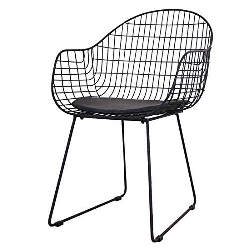 Stuhl Nordic Perforierte Wire Mesh kreative Schmiedeeisen Rückenlehne Einfach Lässige Bankett Essen Hotel Dining Dressing Y1209 (Color : Black)
