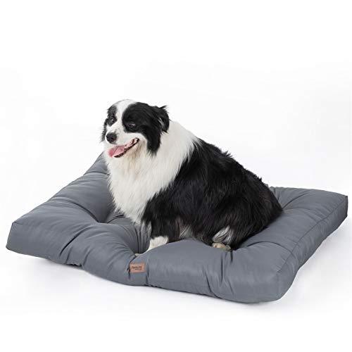 Bedsure Hundekissen Grosse Hunde waschebar - Hundebett Wasserdicht L für große, mittelgroße Hunde gepolstert Hundematte grau in 10cm Höhe, 90x68cm