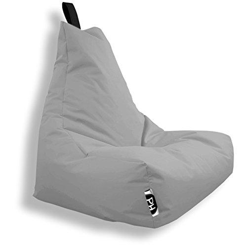 Patchhome Lounge Sessel XXL Gamer Sessel Sitzsack Sessel Sitzkissen In & Outdoor geeignet fertig befüllt   XXL - Grau - in 2 Größen und 25 Farben