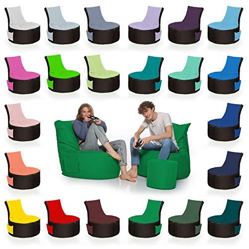 HomeIdeal - 2Farbiger Gamer Sitzsack Lounge Bodenkissen für Erwachsene & Kinder - Gaming oder Entspannen - Indoor & Outdoor da er Wasserfest ist - mit EPS Perlen, Farbe:Schwarz-Grau, Größe:Erwachsene