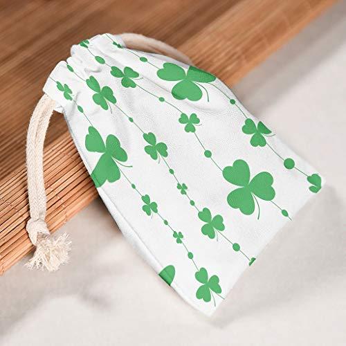 RQPPY St. Patrick's Day Canvas-Tasche, groß, Geschenkbeutel für Schmuck, 6 Stück, weiß, 12*18cm