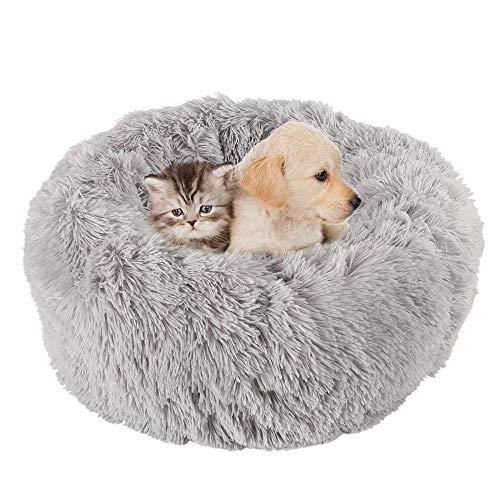 KongEU Rundes Ultra Weicher Plüsch Kuschelkissen für Welpen,Katze,weiches Hundesofa,Kuschel-Nest,Bett für kleine und mittelgroße Hunde und Katzen,waschbar-XS:40CM-hellgrau