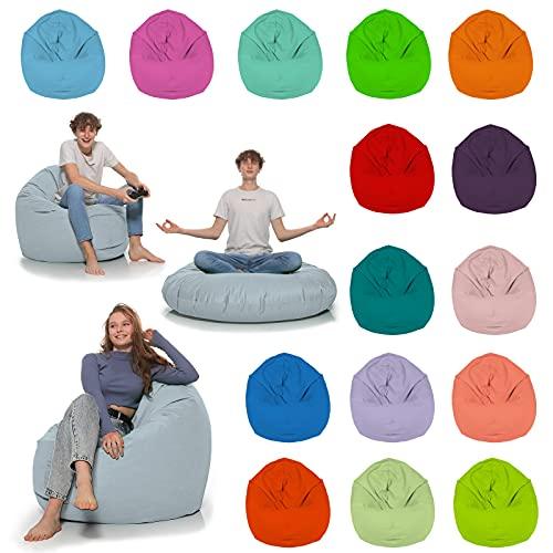 HomeIdeal - Sitzsack 2-in-1 Funktionen Bodenkissen für Erwachsene & Kinder - Gaming oder Entspannen - Indoor & Outdoor da er Wasserfest ist - mit EPS Perlen, Farbe:Grau, Größe:110 cm Durchmesser