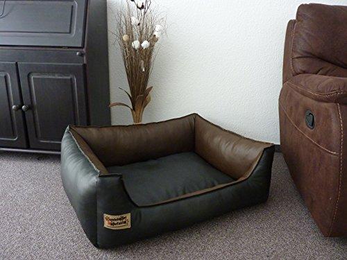 Hundebett Hundesofa Schlafplatz Kunstleder Similpelle Farbe und Größe wählbar von XS bis XXL (110 cm X 85 cm, schwarz braun)
