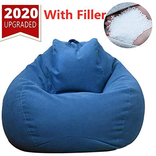 debieborahtoys Sitzsack, gefüllt, mit weichem Mikrofaser-Bezug, Schaumstoff-Partikelgefüllt, für Kinder und Erwachsene, 79 x 89 cm Navy