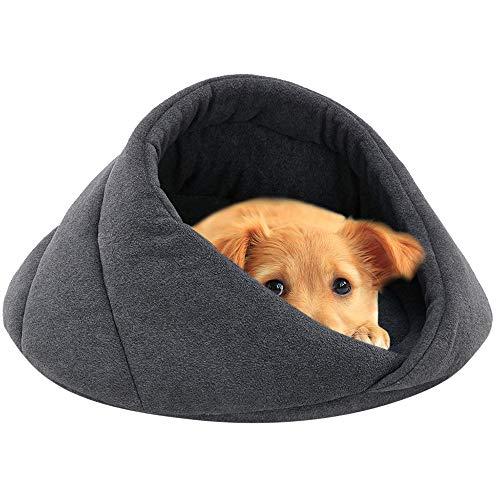 .‿. Hundebett,Weiches Fleece Winter Warmes Haustier Hundebett,Kleiner Hund Katze Schlafsack Puppy Cave Betten,für Drinnen, Draußen,für Kleine Hunde,Schnauzer,Teddy,Pudel,Chihuahua (Grau, XS)