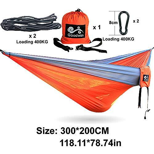 Einzel leichte Camping Hängematte,300 * 200CM Hamac Stuhl Baumbett Schaukel mit Baumgurten, Aufbewahrungstasche-Orange Hängematte,Camping Zubehör,Outdoor Ausrüstung,Survival Set